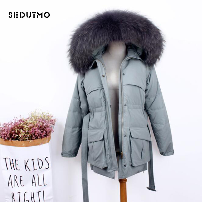 SEDUTMO Winter Warm Duck   Down   Jackets Women Oversize Fur Hooded   Coat   Tunic Autumn Slim Thick Puffer Jacket ED832
