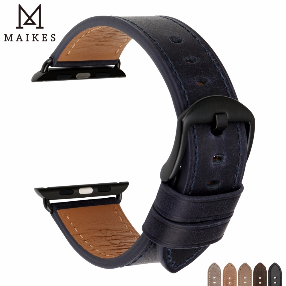 все цены на MAIKES New Leather Watch Strap Compatible For Apple Watch Band 44mm 40mm / 42mm 38mm Series 4 3 2 1 All Models iWatch Watchbands онлайн