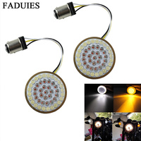 FADUIES Motorcycle Light 2 Bullet Style 1157 LED Inserts Turn Signal Panel For Harley Sportster Softail Touring Dyna 2012 2017