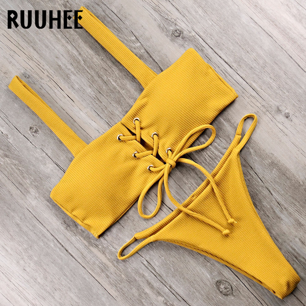RUUHEE Bikini Swimsuit Swimwear Women Push Up Bathing Suit Bandeau Solid Bikini Set 2018 Female Beachwear With Pad Swim suit fashionable embroidery bandeau bikini set for women