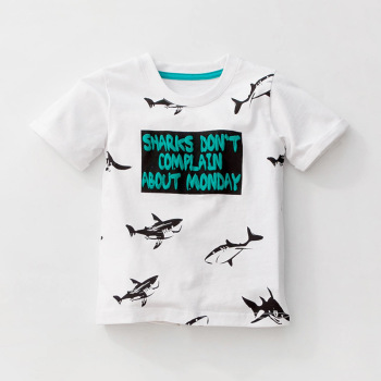 Little maven 1-6Years Cartoon Shark Baby Kids Boys Short Sleeve T Shirt Cotton Summer Children Boys Girl's Garments Clothes
