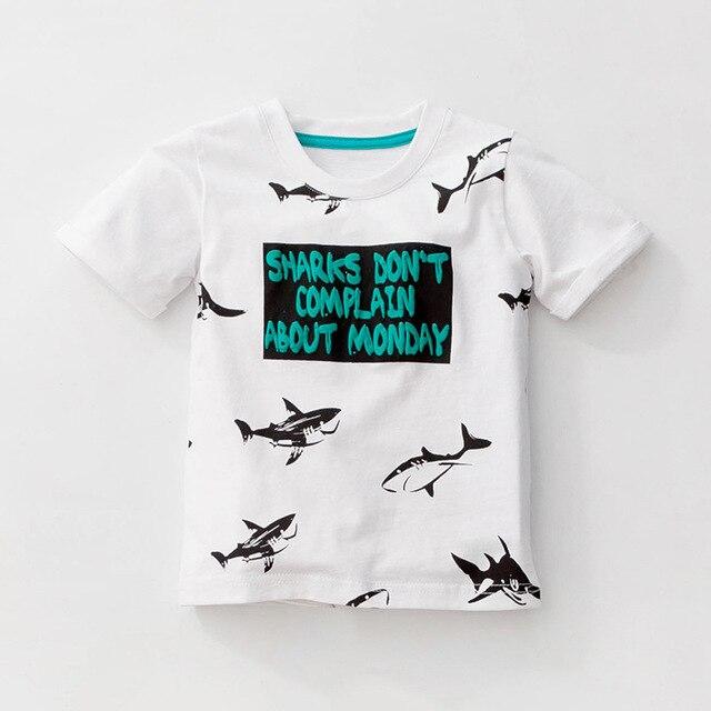 Little maven 1-6Years Cartoon Shark Baby Kids Boys Short Sleeve T Shirt Cotton Summer Children Boys Girl's Garments Clothes