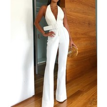 2019 Women Summer Elegant Office Lady Jumpsuit Sexy V Neck Sleeveless Workwear Belted Long Backless Jumpsuits