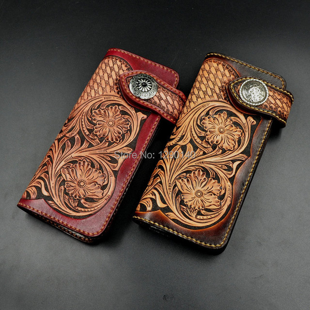 3e26a1f787b7 Vintage Customized Italy Imported Genuine Leather Carved Handmade Couple Bifold  Wallet Purse Free Shipping Red Moon Style