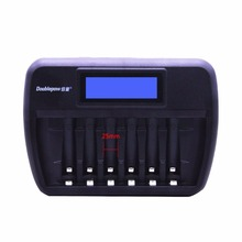 Doublepow Multifunctional Universal 6 Slots LCD AA AAA Rechargebale Battery Charger Automatic Intelligent Rapid