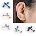 2pcs Ear Nail Bone Barbell Earring Piercing helix ear stud tragus Ear Piercing Black Silver Gold Cartilage Ring For Men Women