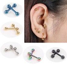 2pcs Ear Nail Bone Barbell Earring Piercing helix ear stud tragus Ear Piercing Black Silver Gold Cartilage Ring For Men Women