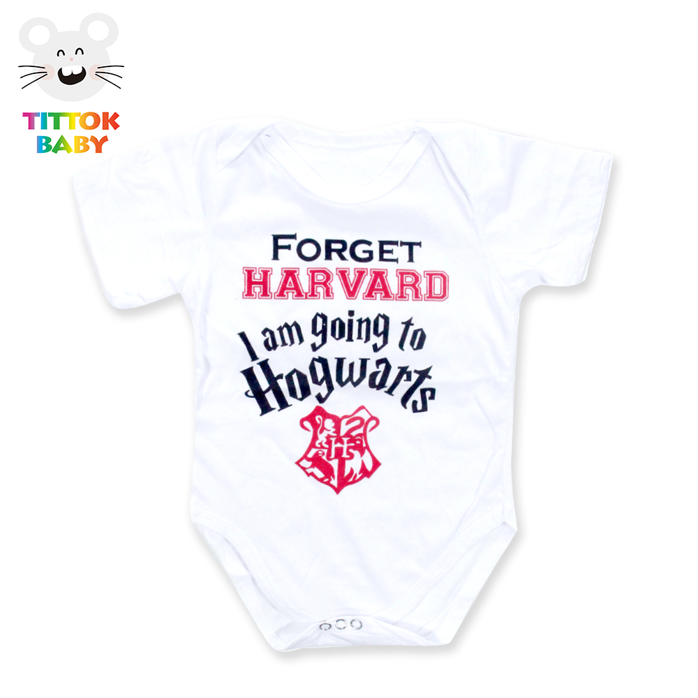 2017 Nyfödda Baby Boy Girl Kläder Harvard Hogwarts Letter Print Babybody Vit Short Sleeve Tiny Cottons Fashion