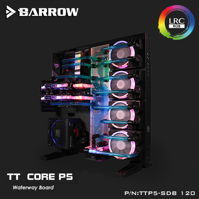 TTP5 SDB 120 Barrow water cooling waterway board for TT Core P5 computer case reservoir 5v light 4pcs 120mm position-in Fans & Cooling from Computer & Office    1