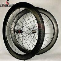 LEADXUS Full T700 Carbon 700C Disc Brake Carbon Wheels 58mm 404 Depth Disk Brake Dimple Wheel D411 412 Hubs Basalt Brake Surface