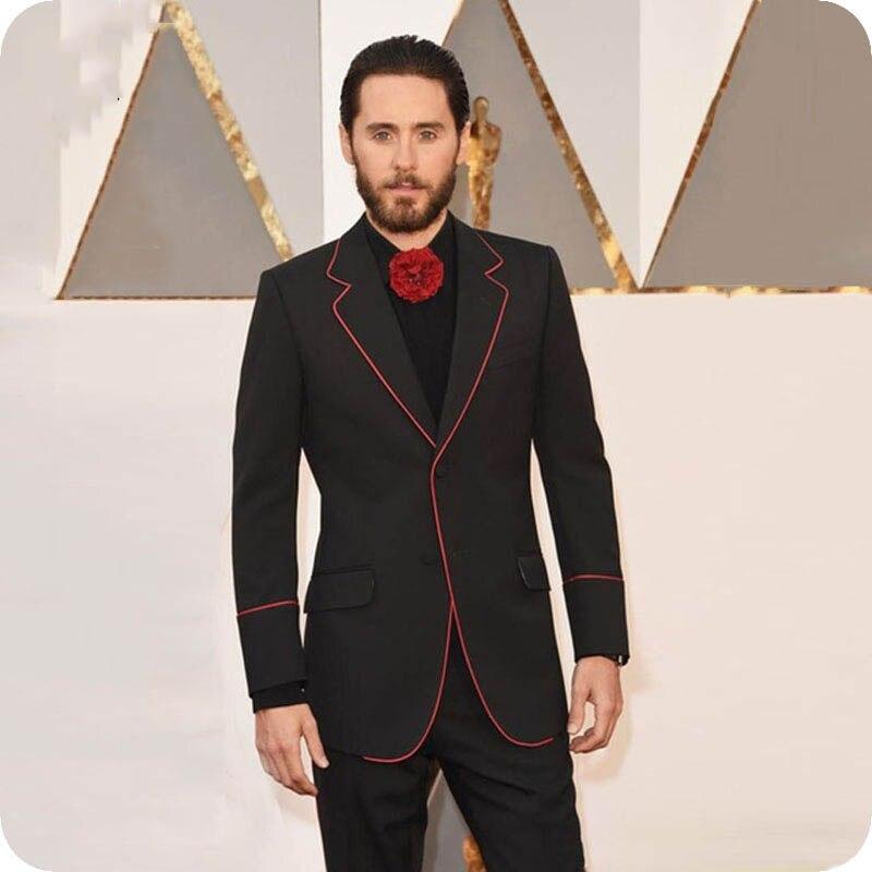 Black Men Formal Suits Red Side Red Carpet Slim Fit Groom Suits Tailor-Made Male Jacket Prom Blazer 2Piece Costume Homme Ternos