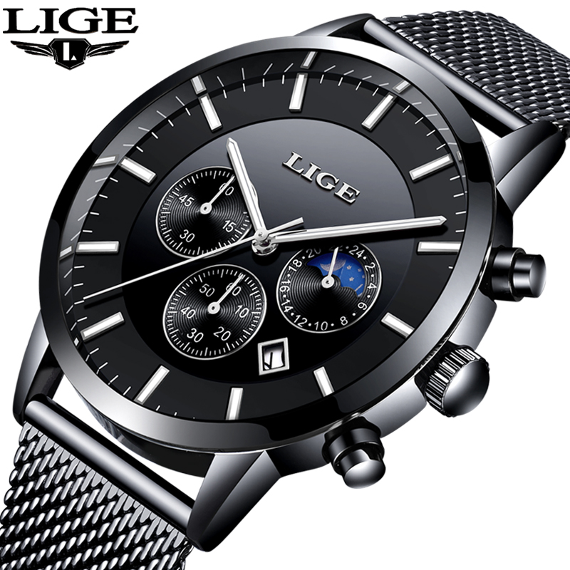 2018 Top Brand LIGE Watch Men Casual Waterproof Watches Men Ultra-thin Stainless Steel Quartz Clock Male Watch relogio masculino top brand otex men watch stainless steel band analog display quartz wristwatch ultra thin dial men s watches relogio masculino