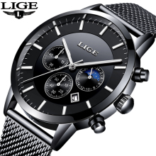 2018 Top Brand LIGE Watch Men Casual Waterproof Watches Men Ultra-thin Stainless Steel Quartz Clock Male Watch relogio masculino luxury skmei brand men watch ultra thin stainless steel clock male quartz sport watch men waterproof casual wristwatch relogio