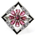 6# Created Pink Raspberry Rhodolite Garnet SheCrown Woman's Party  Silver Ring 25x25mm