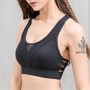 ESHINES Women Mesh Sports Bra Push Up Padded Yoga Sport Bras Bikini Crop Top Fitness Tank Exercise Tops High Impact Brassiere 1