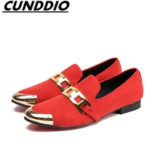 CUNDDIO Men s casual work style Pointed Genuine leather Red The buckle Fashion Leisure Men's leather shoes Size 38-44