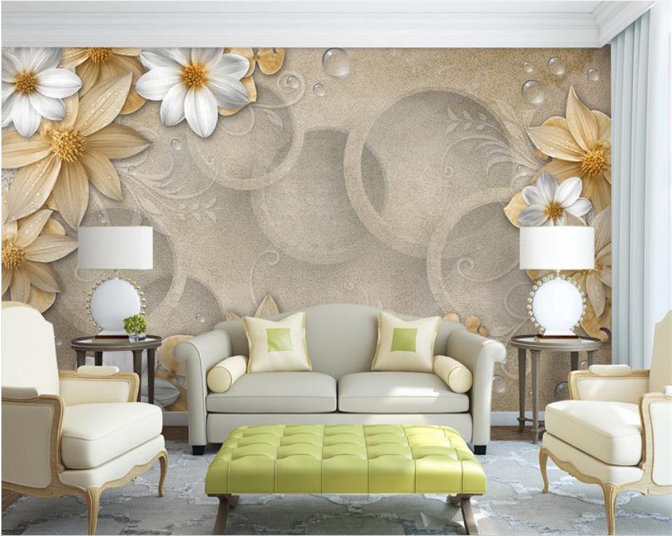 3d Wallpaper Custom Photo Wallpaper Retro Kraft Flowers 3d Painting Living Room Sofa Tv Background Mural Wall Paper For Walls 3d Diversified Latest Designs Home Improvement Wallpapers