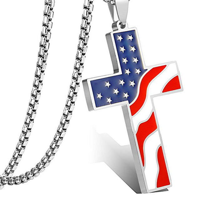 American USA Flag Necklaces Gold Cross Pendant Stainless Steel  1