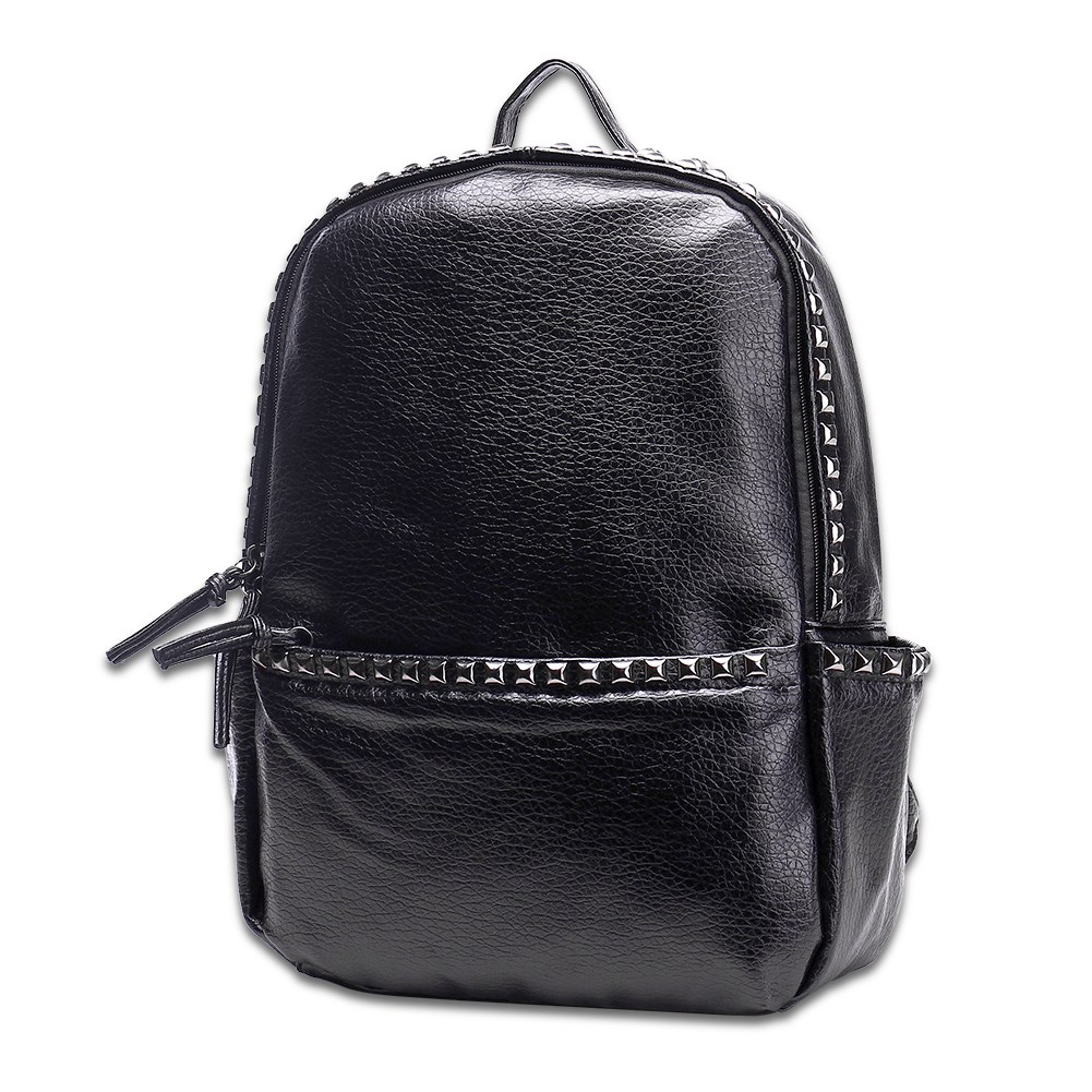 New PU Leather Backpack School for Women Teenegers Girls Laptop Backpack Solid Color Zipper Soft Handle