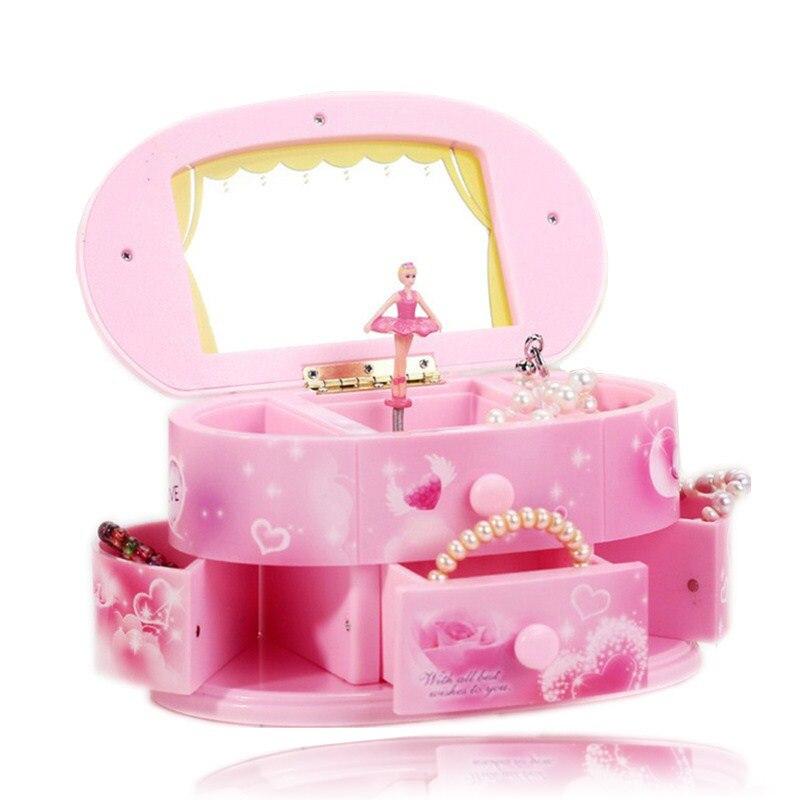Neue rotierenden ballerina musik box zu senden freundin geburtstag geschenk musik boxs kunststoff schmuck lagerung box geschenk box Weihnachten geschenk