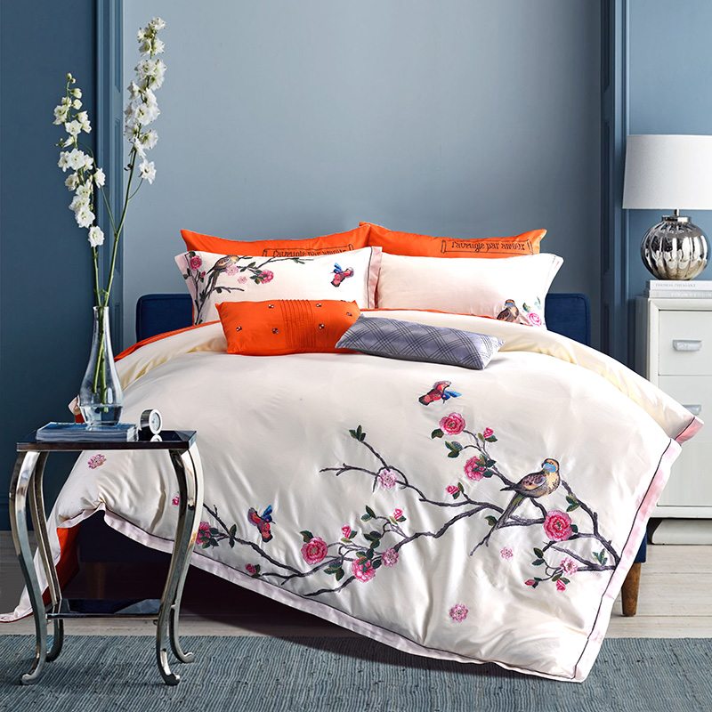 4Pcs New flower birds Duvet Cover Set With Pillowcases Bedding Set Egyptian cotton embroidery Soft Quilt Cover For Gift