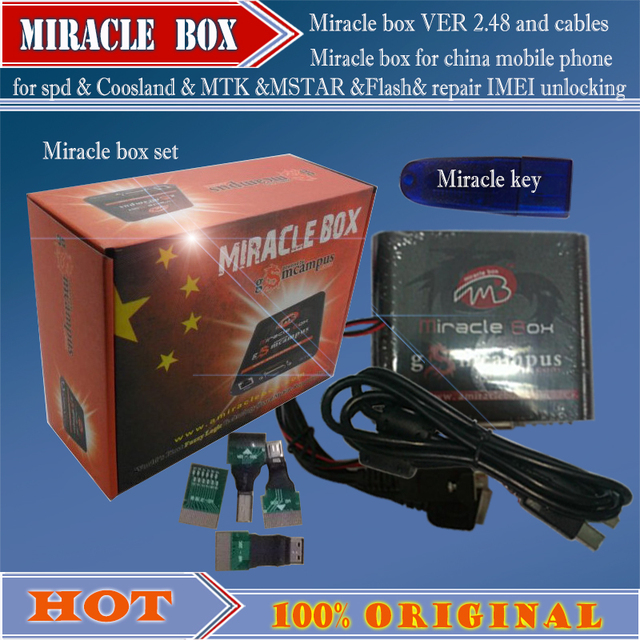 US $119 69 |100% Original Miracle Miracle box +Miracle key with cables (  v2 48A hot update ) for china mobile phones Unlock+Repairing unlock-in