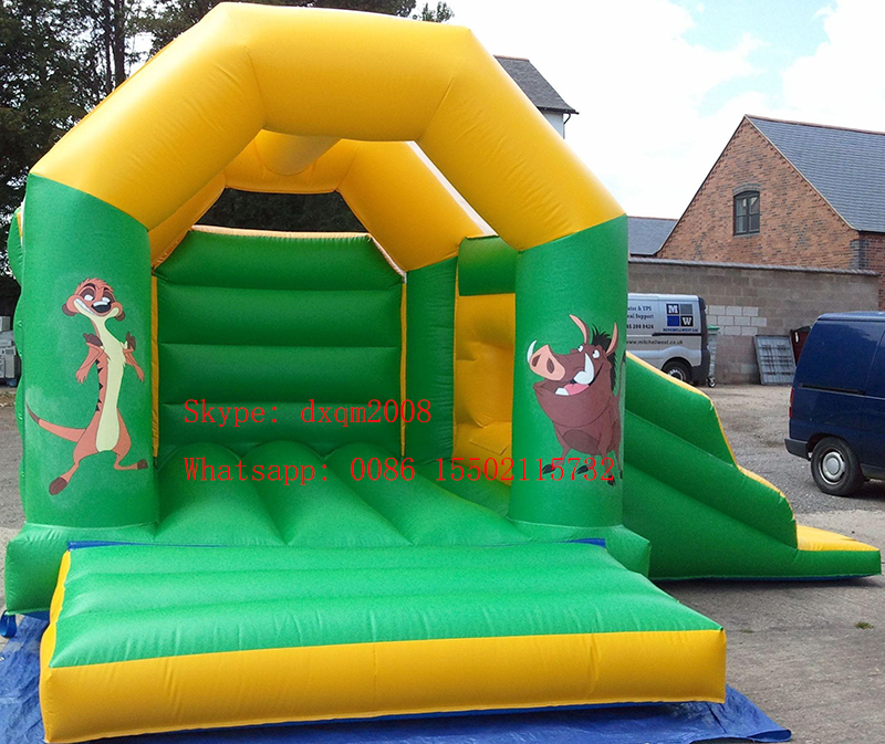A frame PVC inflatable jumping bouncy slide combo indoor and outdoor playground bounce house castle for