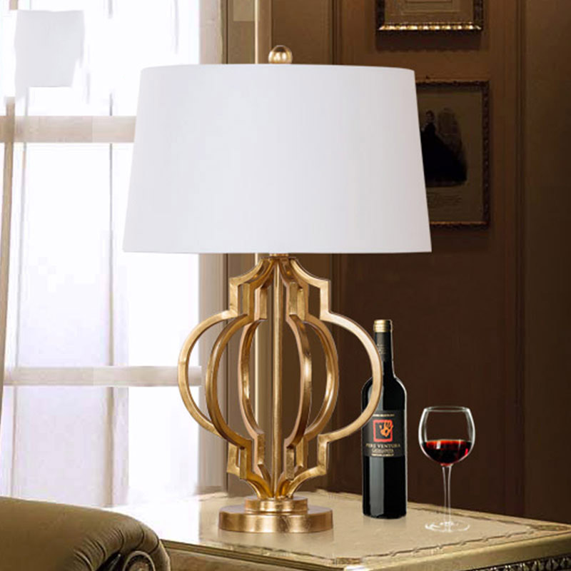 Led Table lamp Lustre Modern White Fabric Lampshade Living Room Decoration Abajur Golde Metal Table lamp For Bedroom стоимость