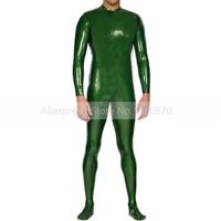 Зеленый Сексуальная Для мужчин латекс облегающий Кошачий костюм резиновая боди с носки плюс Размеры индивидуальный заказ S LCM143