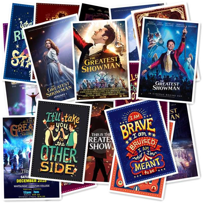 The Greatest Showman 20/pcs PVC Series Sticker Home Decor Fridge Styling Wall Travel Suitcase Graffiti Styling Stickers
