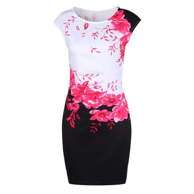 Summer Casual Floral Print Sleeveless O-Neck Slim Dress