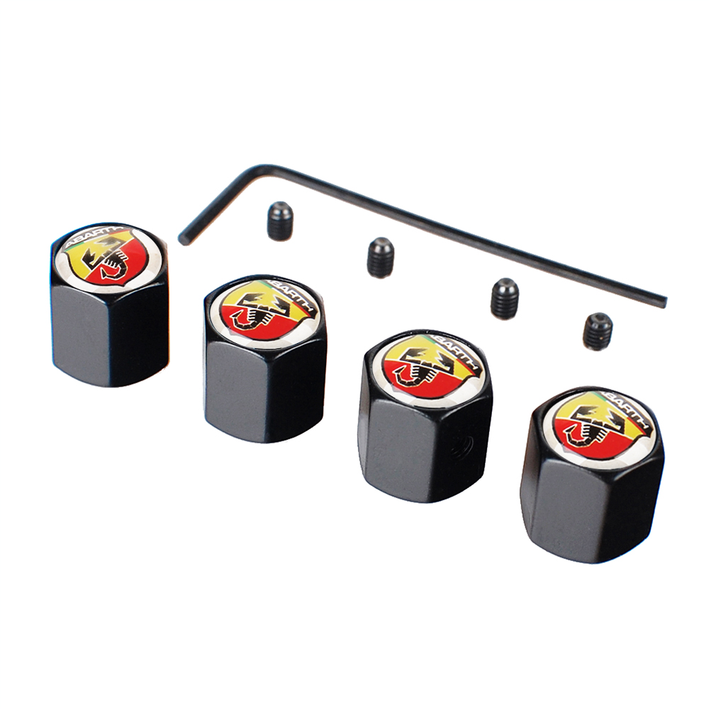 Car Styling Automobile Accessories Wheel Tires Stems Valve Cap Dust Air Anti-Theft Covers For Abarth FIAT Ritmo 4PCS Valves Caps