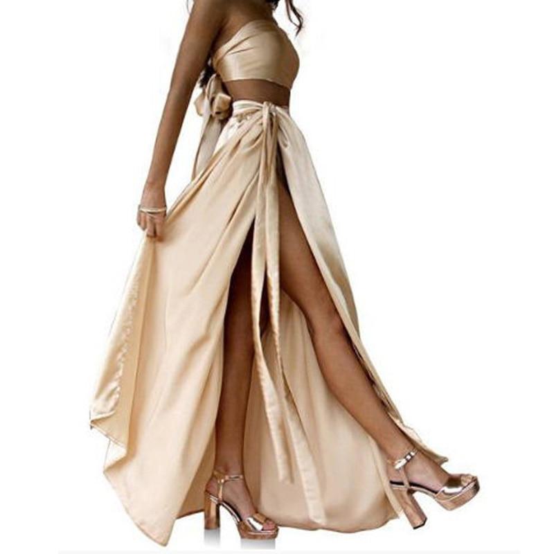 Sexy High Slit Silk Long Skirt Custom Made A Line Floor Length Women Maxi Skirts Saia Longa