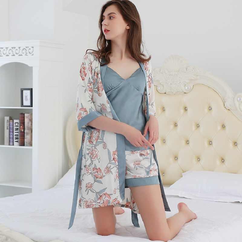 Seksi kadın pijama seti 4 adet seksi dantel pijama Femme kızlar saten ipek pijama gecelik pijama elbiseler uyku salonu ev tekstili