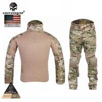Emersongear тактический бой форменная рубашка и брюки Airsoft Multicam военные камуфляж охота Маскировочные костюмы EM2725
