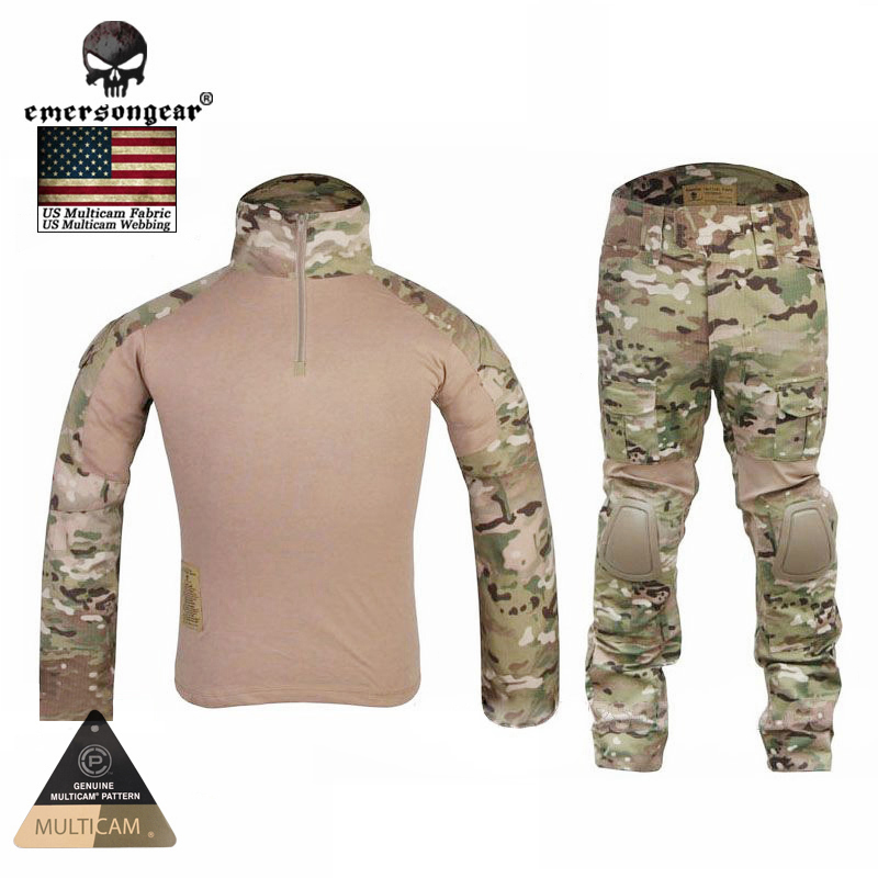 Wholesale! EMERSONGEAR Tactical Combat Uniform Shirt&Pants Airsoft Multicam Military Camouflage Hunting Ghillie Suits EM2725 emersongear g3 combat uniform shirt