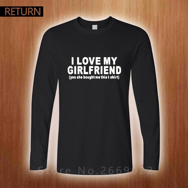 Nueva Moda Amo a MI NOVIA DIVERTIDA IMPRESO MENS Regalo NOVIO Camiseta Camisetas de Algodón de Manga Larga Camisetas