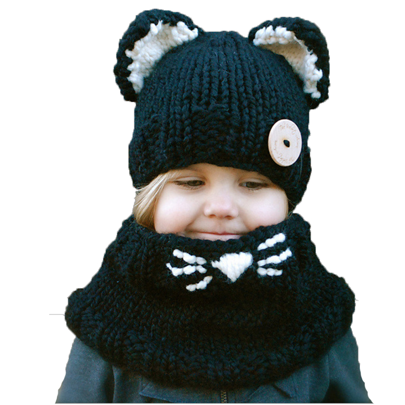 Fashion winter windproof hats and scarf set for kids crochet headgear soft warm hat baby winter