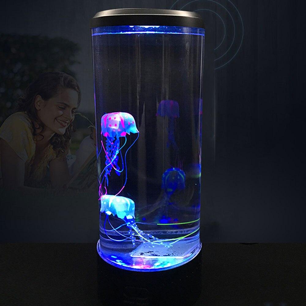 Méduse lampe LED veilleuse Aquarium décoratif Childen lampe de nuit lampe de Table 7 couleurs changer lampe de chevet USB décoration de la maison