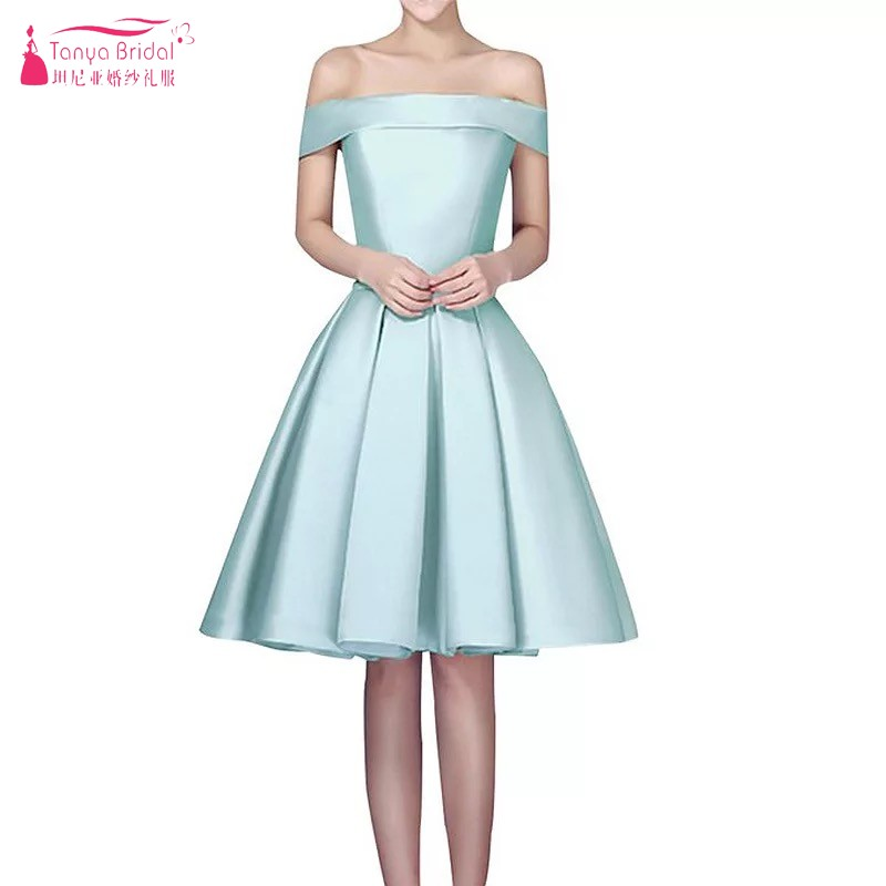 Simple Mint Green Short   Bridesmaid     Dresses   2018 Boat Neck Off The Shoulder Satin Wedding Party Gowns Custom Made Occasion   Dress