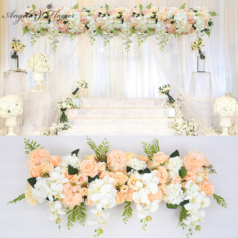 Customized orchid artificial fllower row decor for DIY wedding iron arch platform background flower wall window
