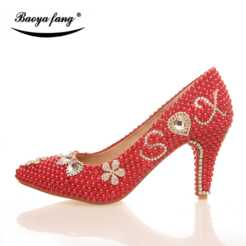 BaoYaFang Red pearl crystal handmade womens wedding shoes 8cm high heels pointed toe female Pumps real leather insole Party shoe baoyafang red crystal womens wedding shoes with matching bags bride high heels platform shoes and purse sets woman high shoes