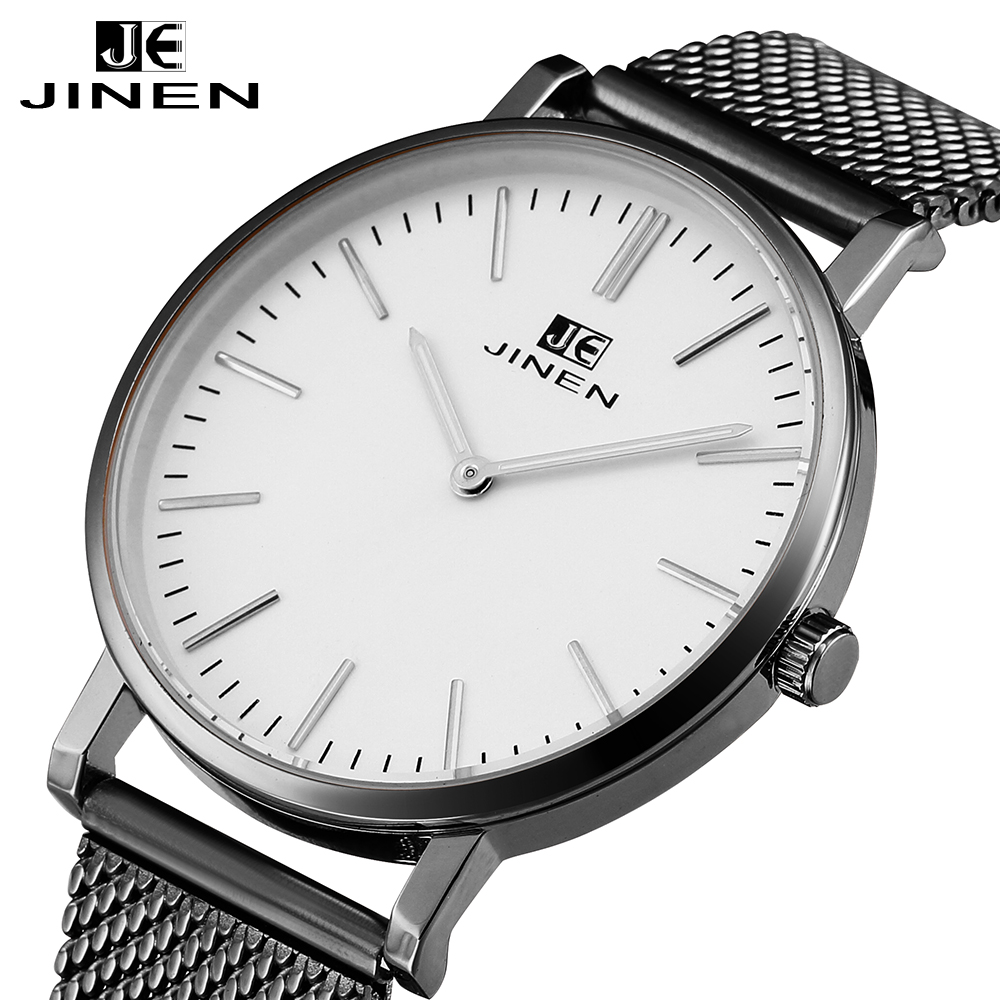 цены JINEN Men Fashion Stainless Steel Band Watch Ultra-thin Case Elegant Classic Luxury Luminous Analog Business Quartz Wristwatch