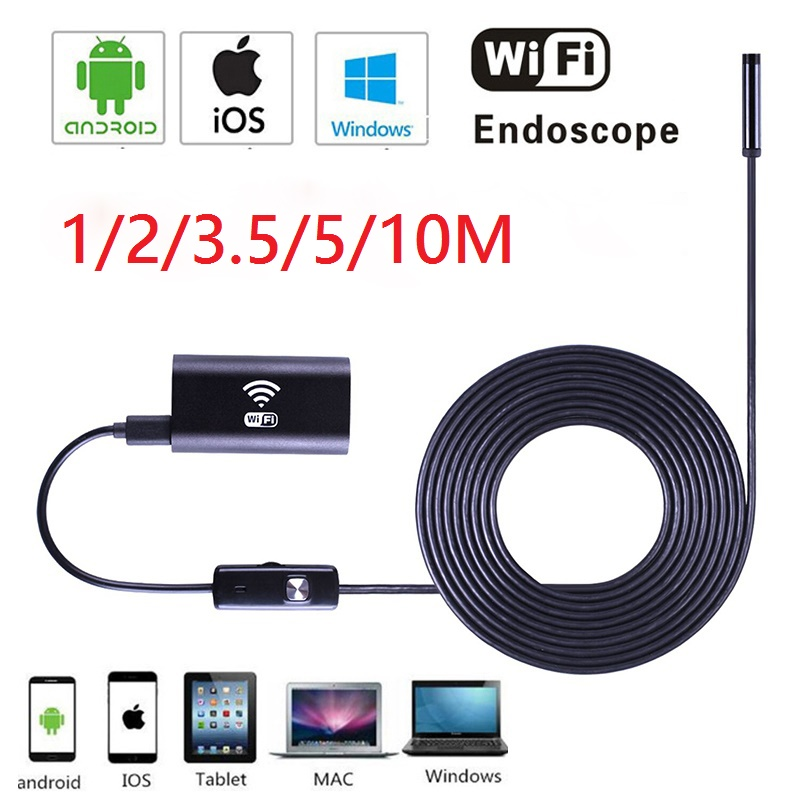 Wifi Endoscope Camera Android IOS 720P  Borescope Inspection Camera Endoscopio 6LED 8MM Semi Rigid Hard And Flexible Snake Tube