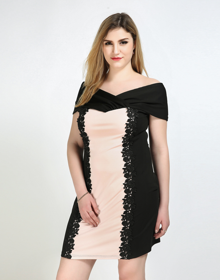 Frauen Sexy V ausschnitt Plus Size Cocktail Party Kleid Rosa Und ...