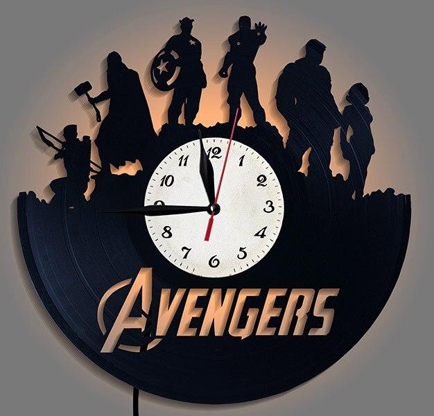 Avengers vinyle Record horloge horloge murale LED veilleuses Avengers mur LED horloge rétro murale montre Vintage décor à la maison cuisine 3d