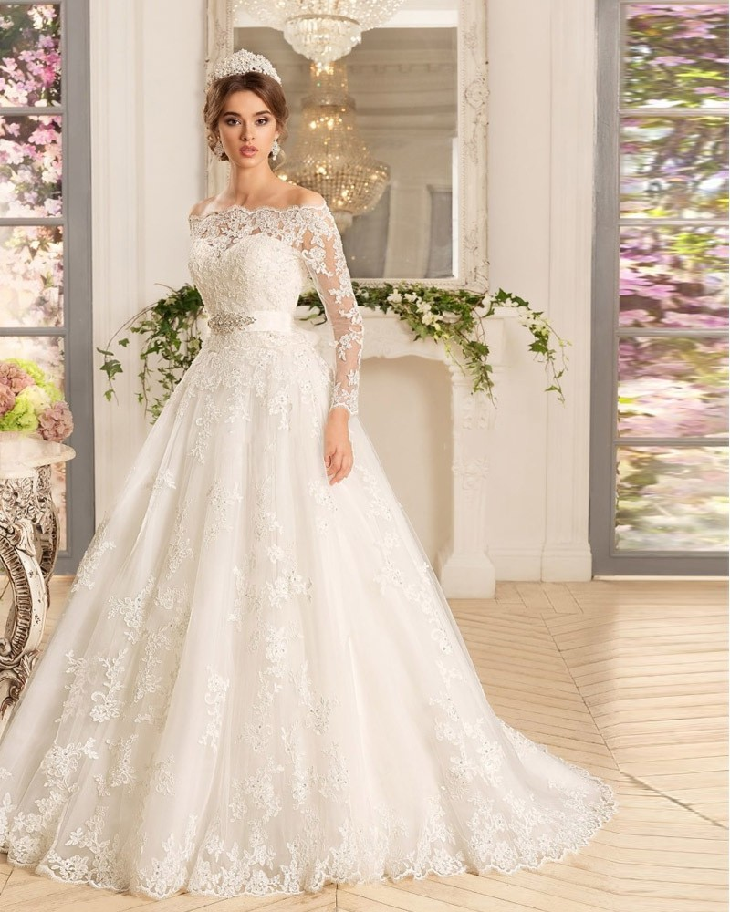 Pa57 luxury ivory vintage wedding dress 2016 boat neck for Vintage beaded lace wedding dress