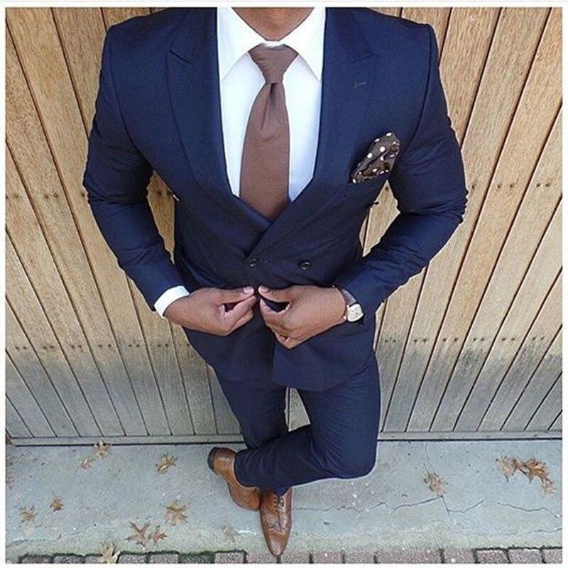 New Fashion Dark Blue Wedding Suits 2 Pieces Suits Men Slim Fit (Jacket + Pants) Groom Tuxedos Groomsman Business Men Suit