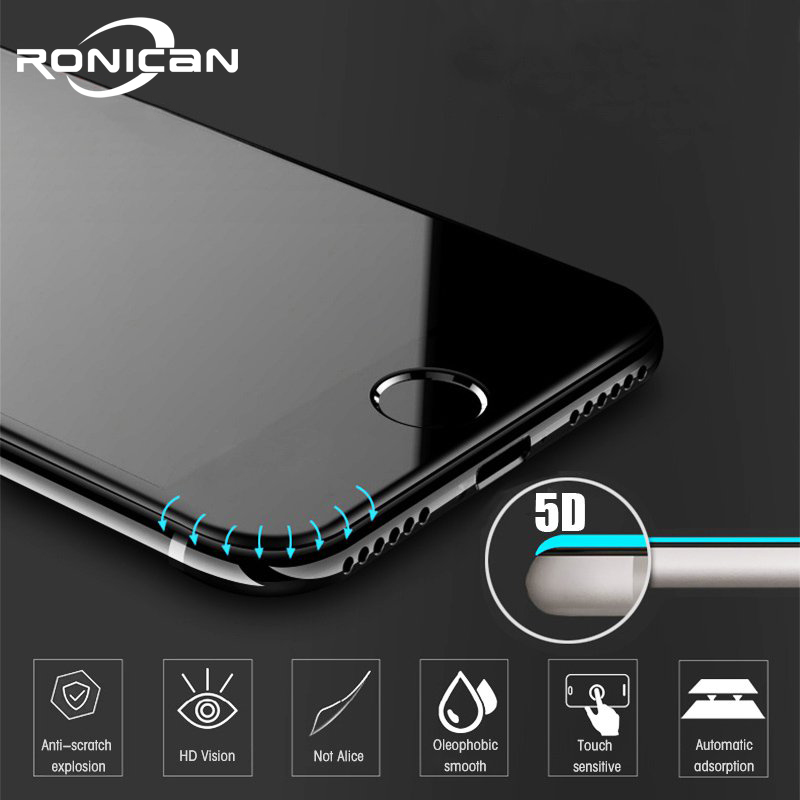 Vidro protetor de tela 5d anti-impressão digital, para iphone 7 8, vidro temperado para iphone xs max 6 vidro 6s 7 8 plus