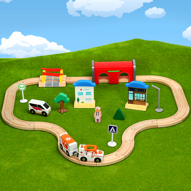 Wooden Train Track Hospital ambulance track game Kids train toy compatible with Brio train tracks Childrens toy car combinationWooden Train Track Hospital ambulance track game Kids train toy compatible with Brio train tracks Childrens toy car combination